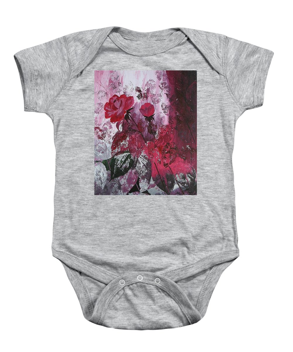 Roses Baby Onesie featuring the painting Rose Burst by Rupa Prakash