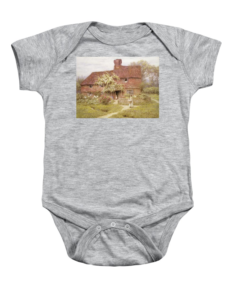 Rose Cottage Baby Onesie featuring the painting Rose Cottage by Helen Allingham
