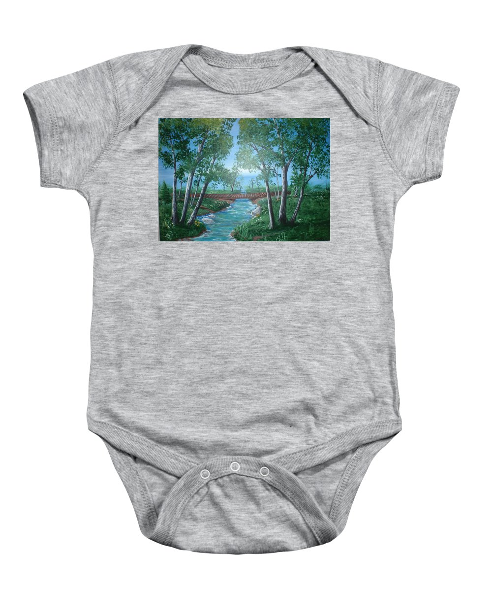Folk Baby Onesie featuring the painting Roseanne And Dan Connor's River Bridge by Susan Michutka