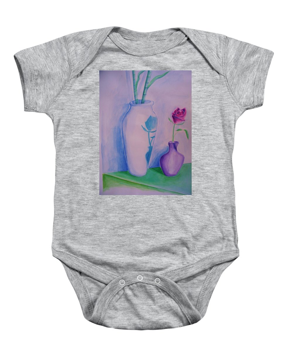 Red Rose Baby Onesie featuring the painting Roses In Vase by Eric Schiabor