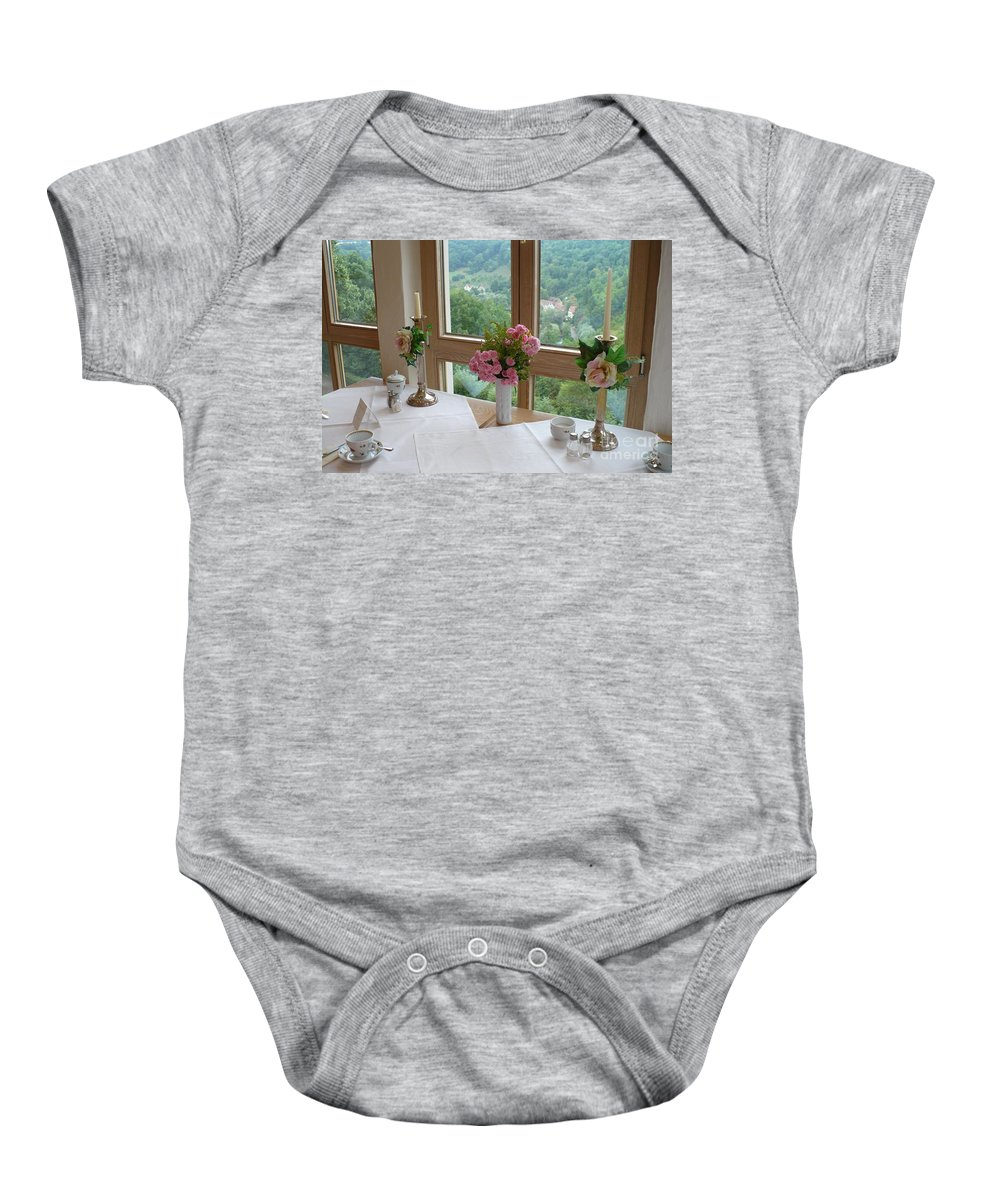 Rothenburg Baby Onesie featuring the photograph Rothenburg Dining With A View by Carol Groenen