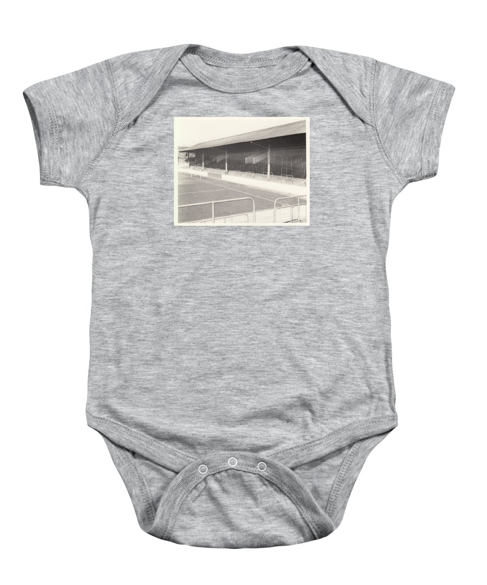 Baby Onesie featuring the photograph Rotherham - Millmoor - Railway End 1 - Bw - April 1970 by Legendary Football Grounds