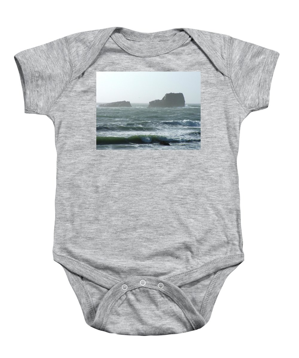 Oceanes Baby Onesie featuring the photograph Rough Waters by Shari Chavira