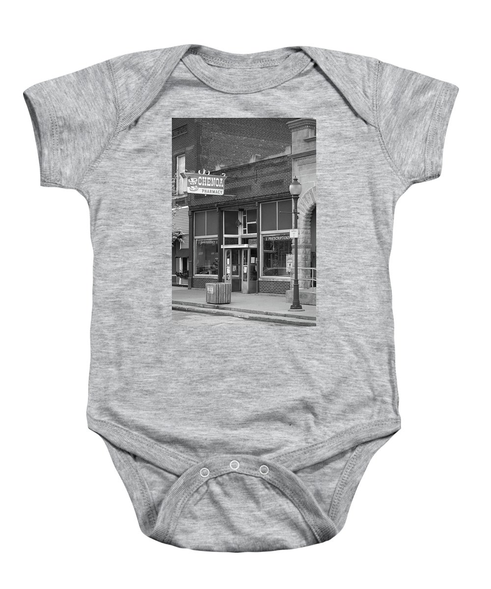 66 Baby Onesie featuring the photograph Route 66 - Chenoa Pharmacy by Frank Romeo