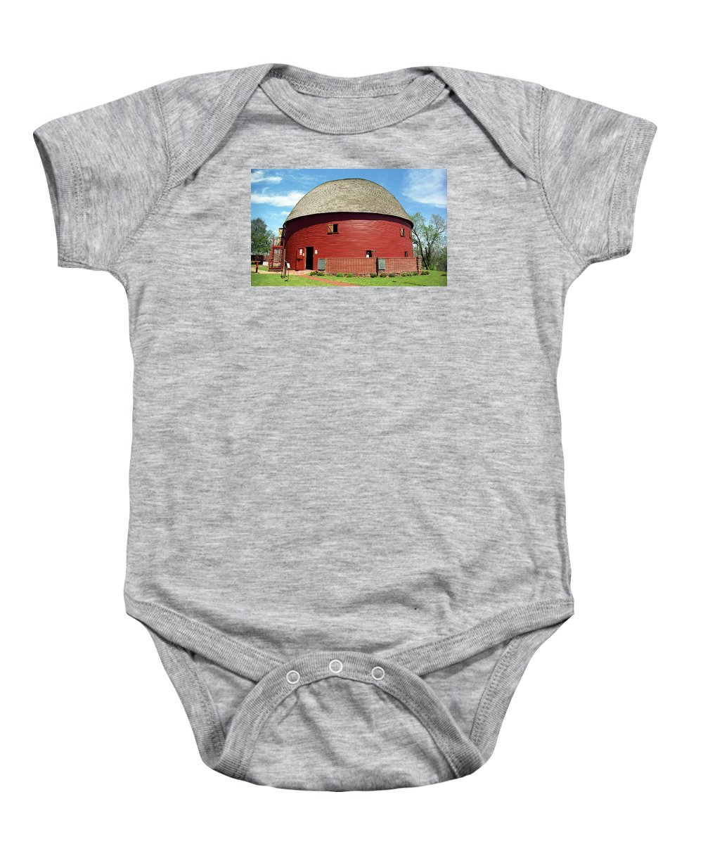66 Baby Onesie featuring the photograph Route 66 - Round Barn by Frank Romeo