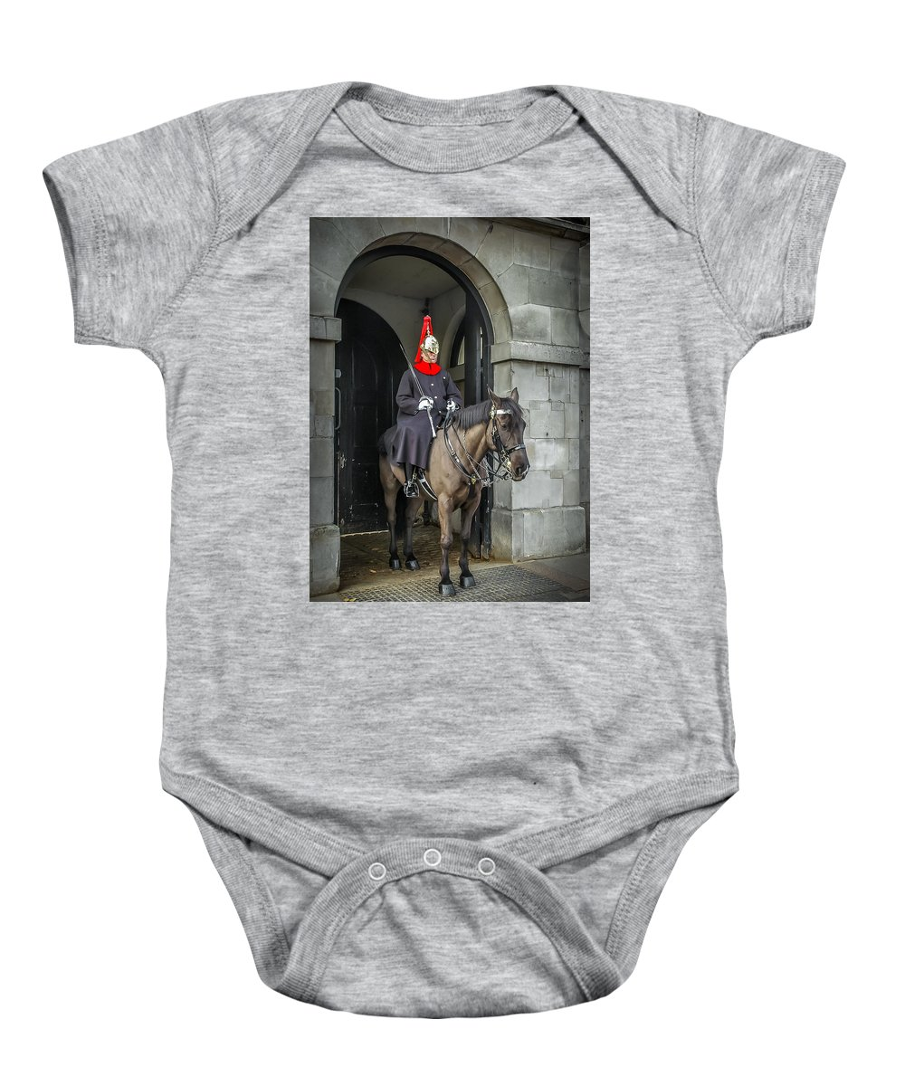 Animal Baby Onesie featuring the photograph Royal Horseguard In London by Peter Hayward Photographer