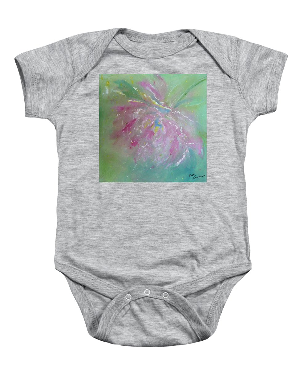 Peony Baby Onesie featuring the painting Ruby Red Peony by Ruth Kamenev