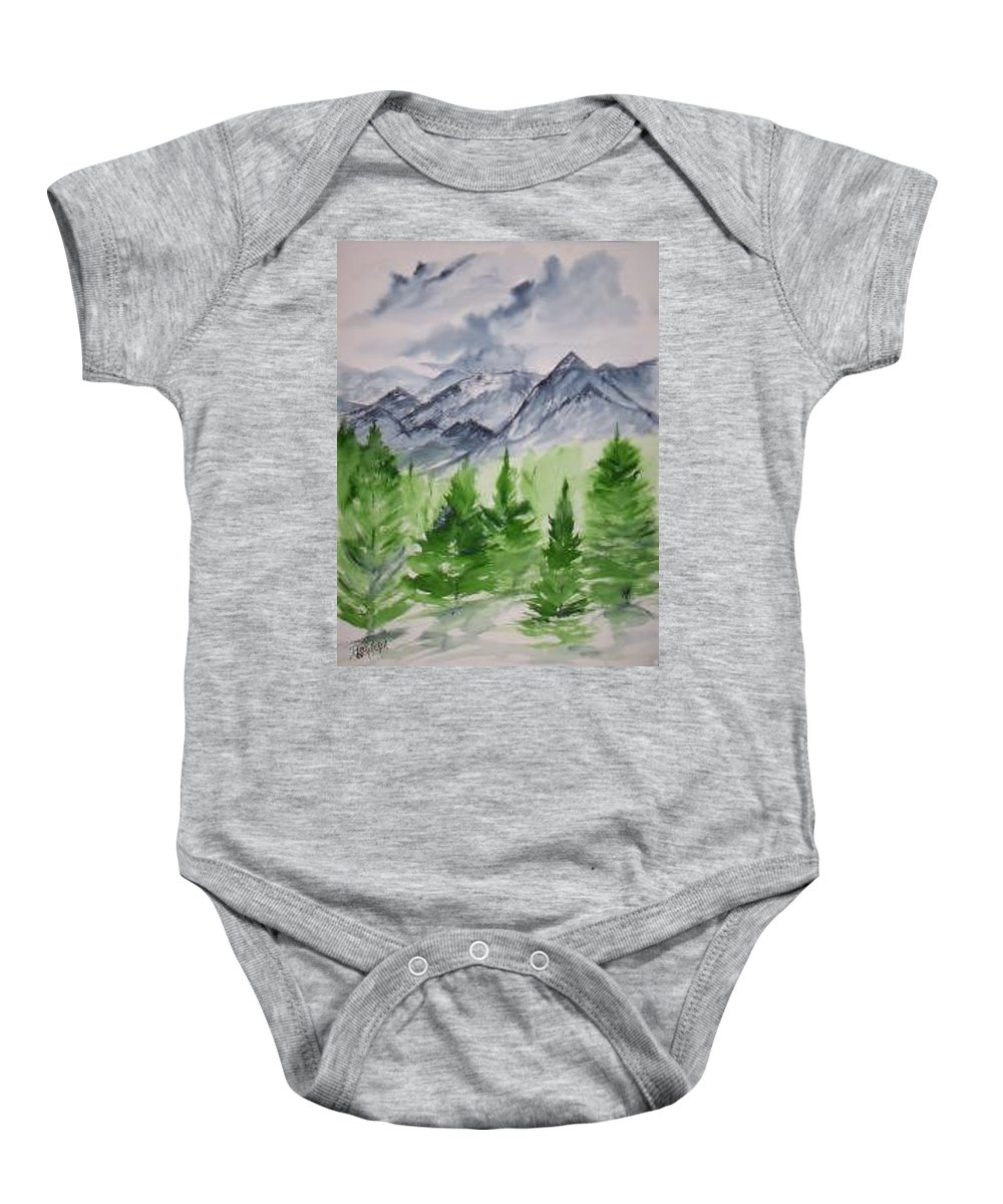 Plein Air Baby Onesie featuring the painting Ruidoso NM southwestern mountain landscape watercolor painting poster print by Derek Mccrea