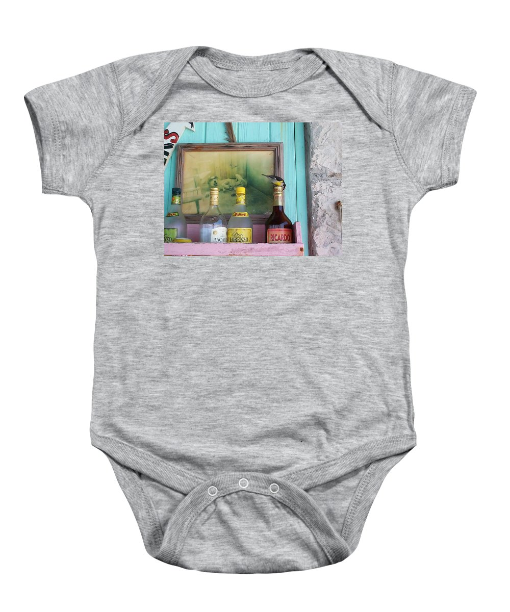Charity Baby Onesie featuring the photograph Rum Shack Bananaquit by Mary-Lee Sanders