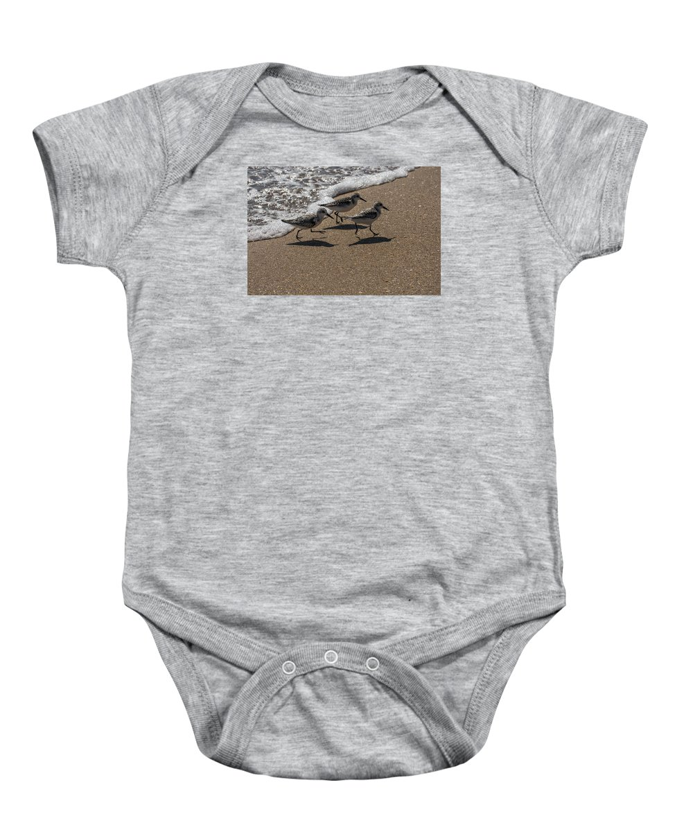 Sandpiper Baby Onesie featuring the photograph Running From The Water by Zina Stromberg