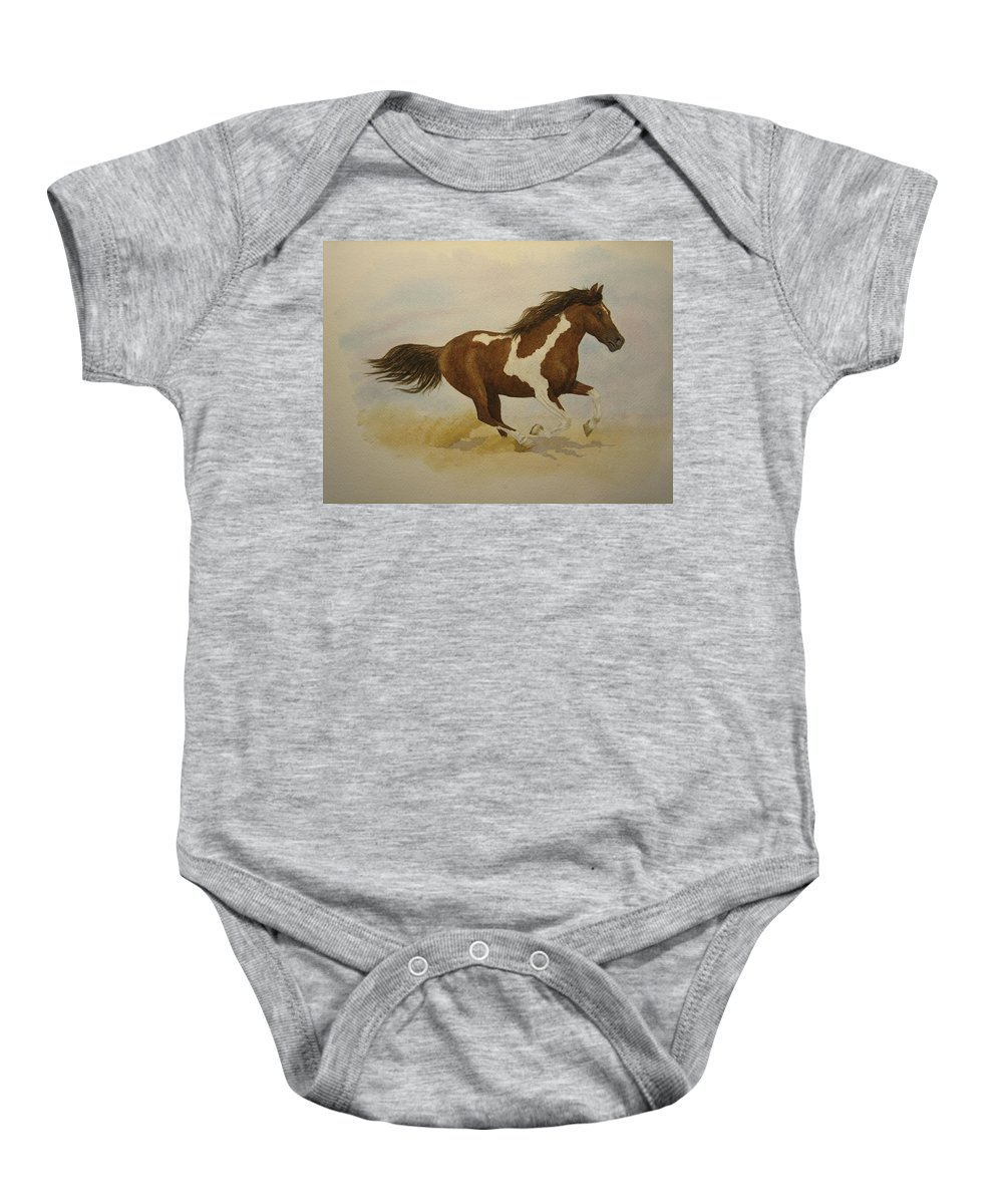 Paint Horse Baby Onesie featuring the painting Running Paint by Jeff Lucas