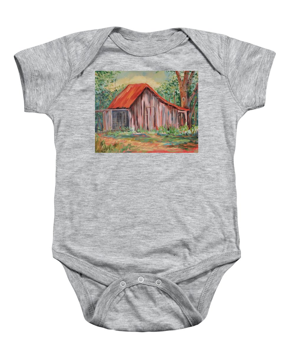 Chicken Coops Baby Onesie featuring the painting Russel Crow by Ginger Concepcion