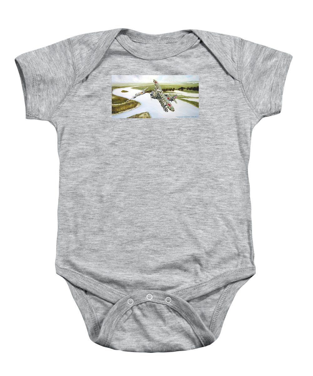 Aviation Baby Onesie featuring the painting Russian Roulette by Marc Stewart