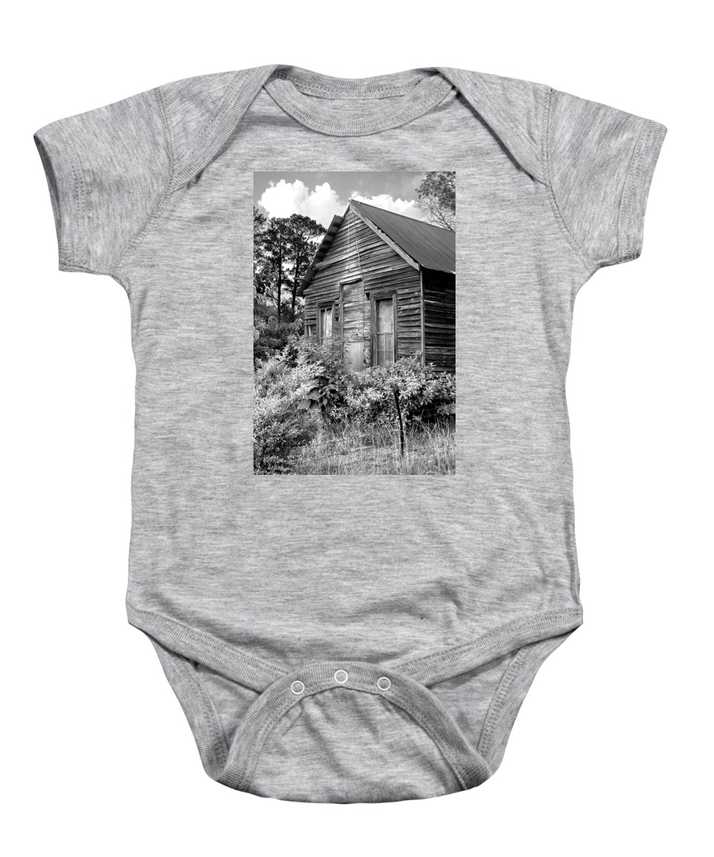 Barn Baby Onesie featuring the photograph Rustic Homestead - Antique Home Barn Country Rural by Jon Holiday
