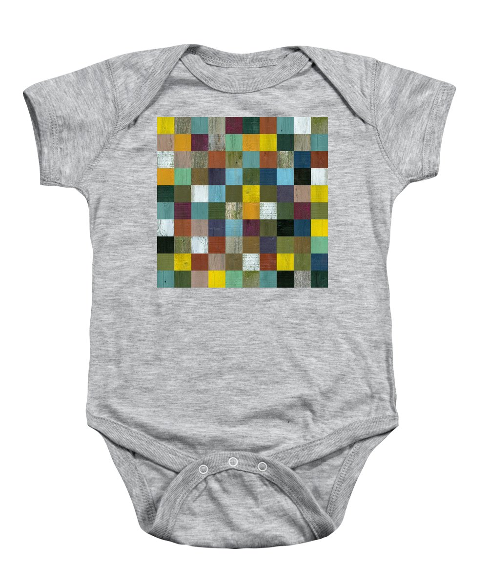 Textured Baby Onesie featuring the painting Rustic Wooden Abstract 100 by Michelle Calkins