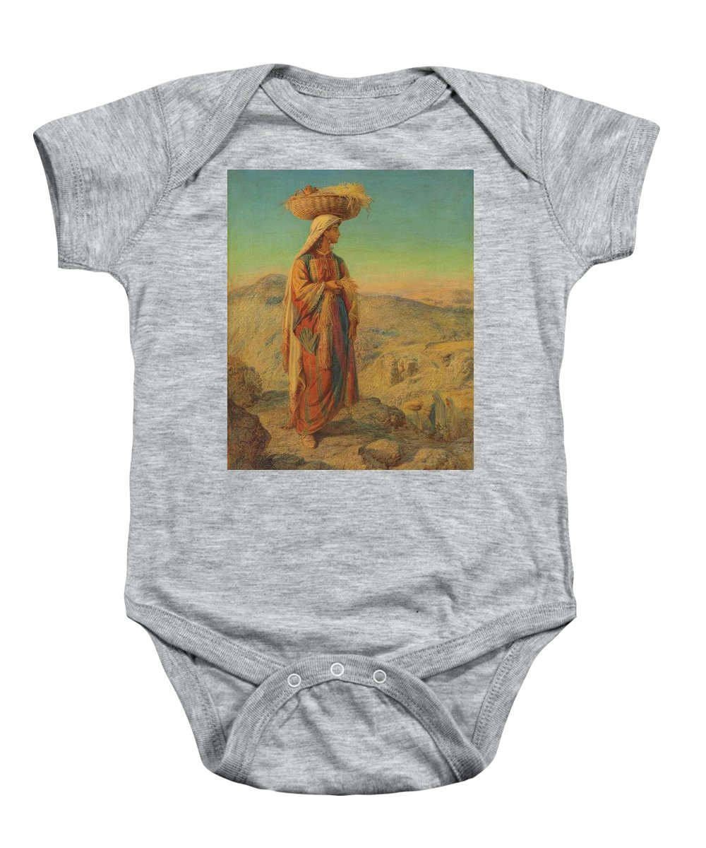 William J Webbe Baby Onesie featuring the painting Ruth An Eastern Gleaner by William J Webbe