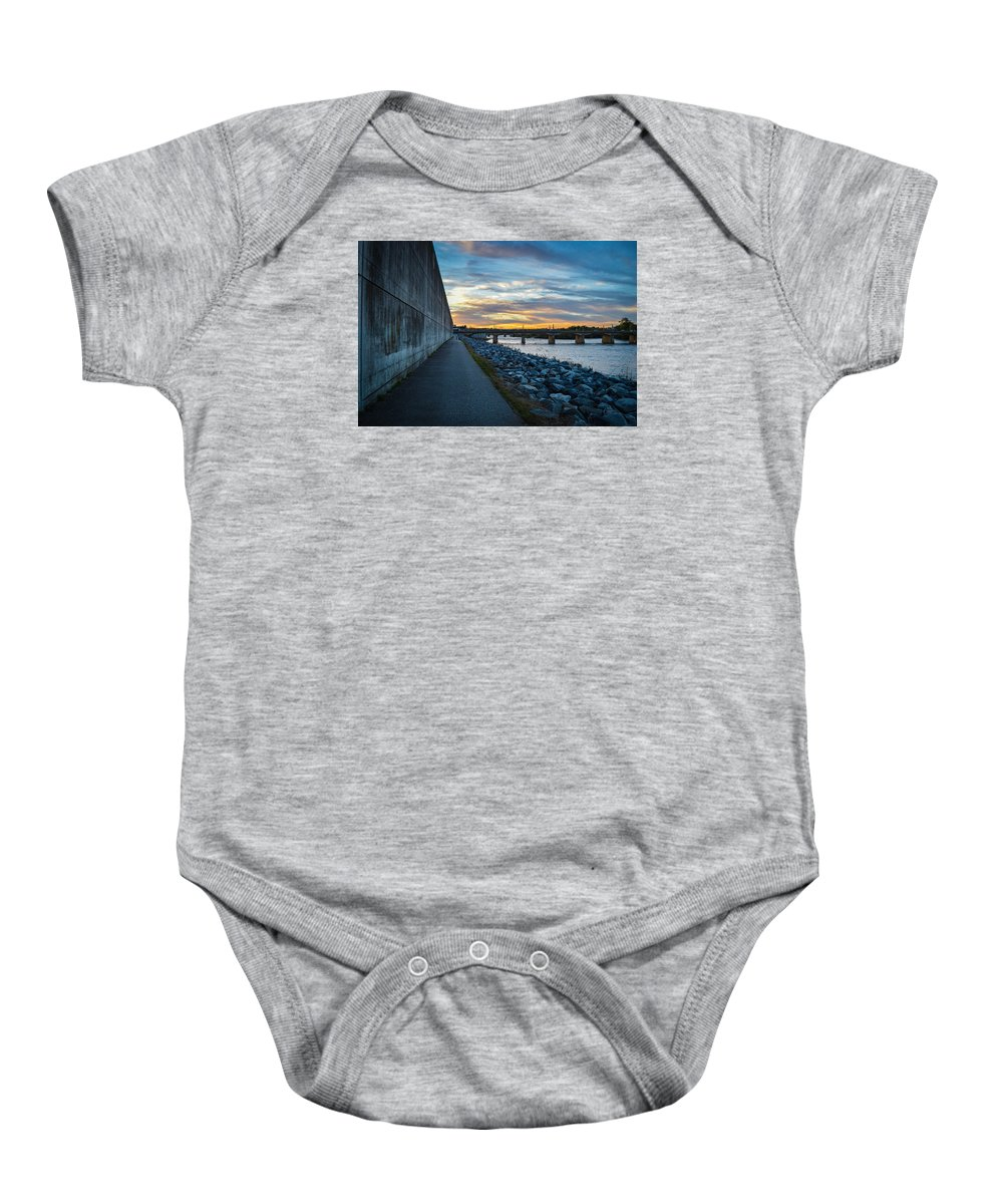 Rva Baby Onesie featuring the photograph Rva Flood Wall by Aaron Dishner