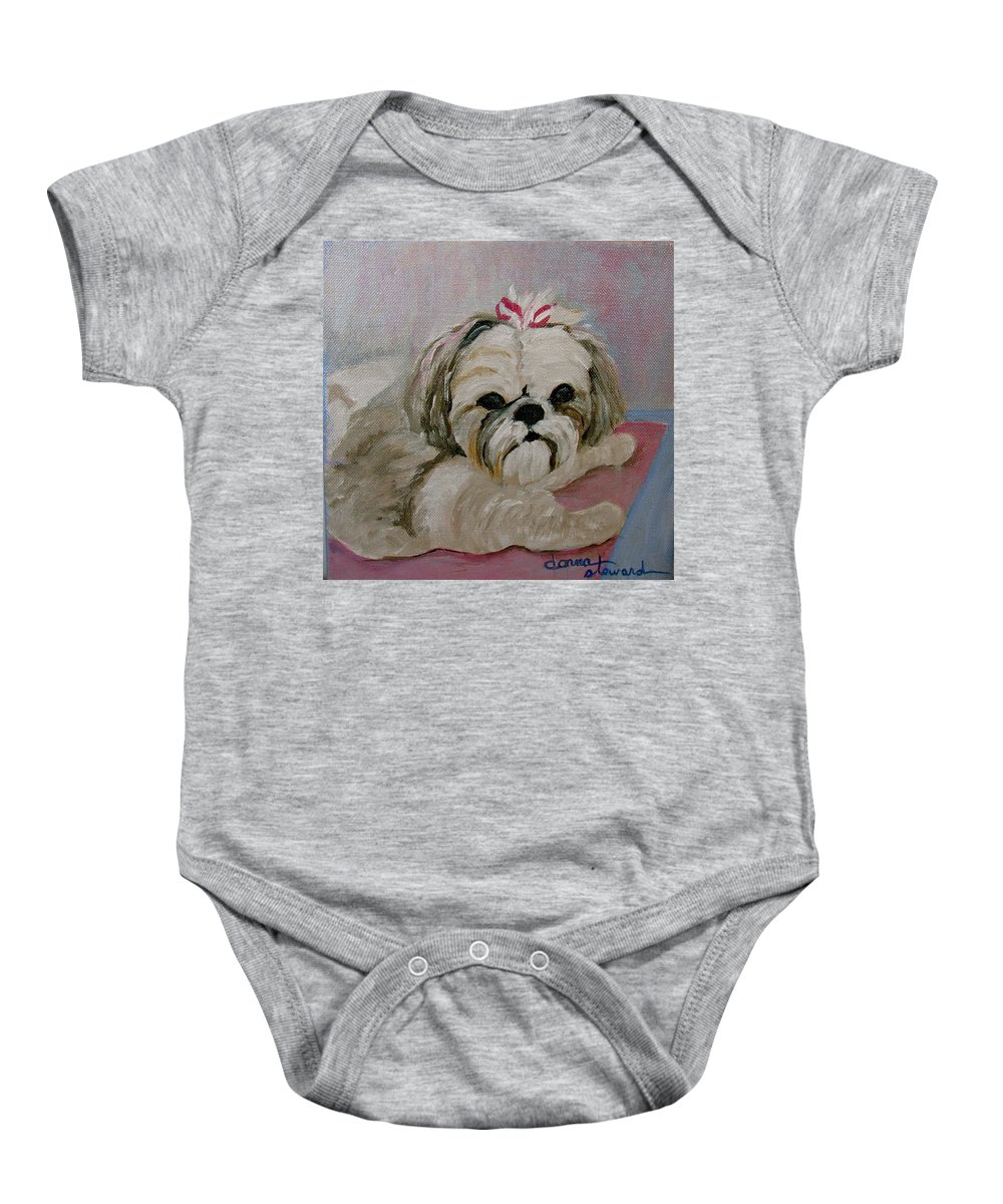 Acrylic Baby Onesie featuring the painting Sacha by Donna Steward