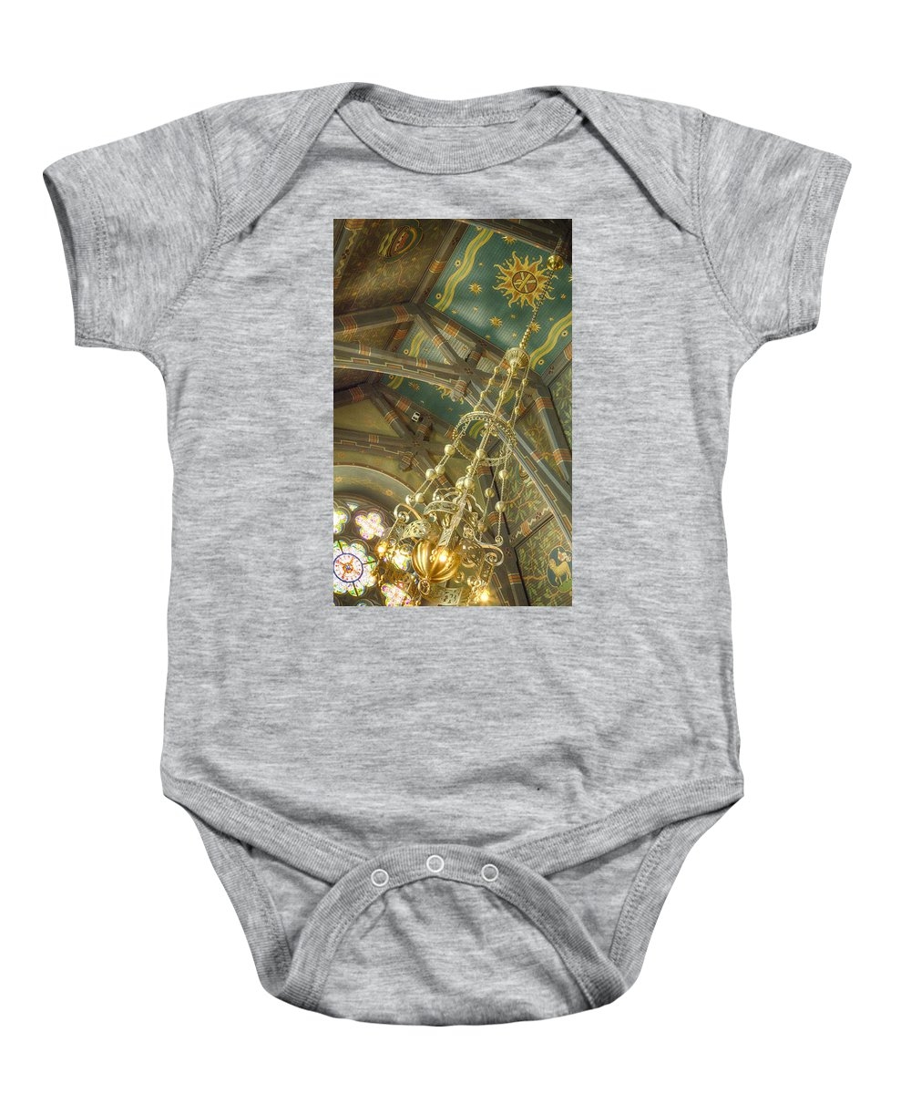 Sage Chapel Baby Onesie featuring the photograph Sage Chapel Ceiling And Light by Stephen Stookey