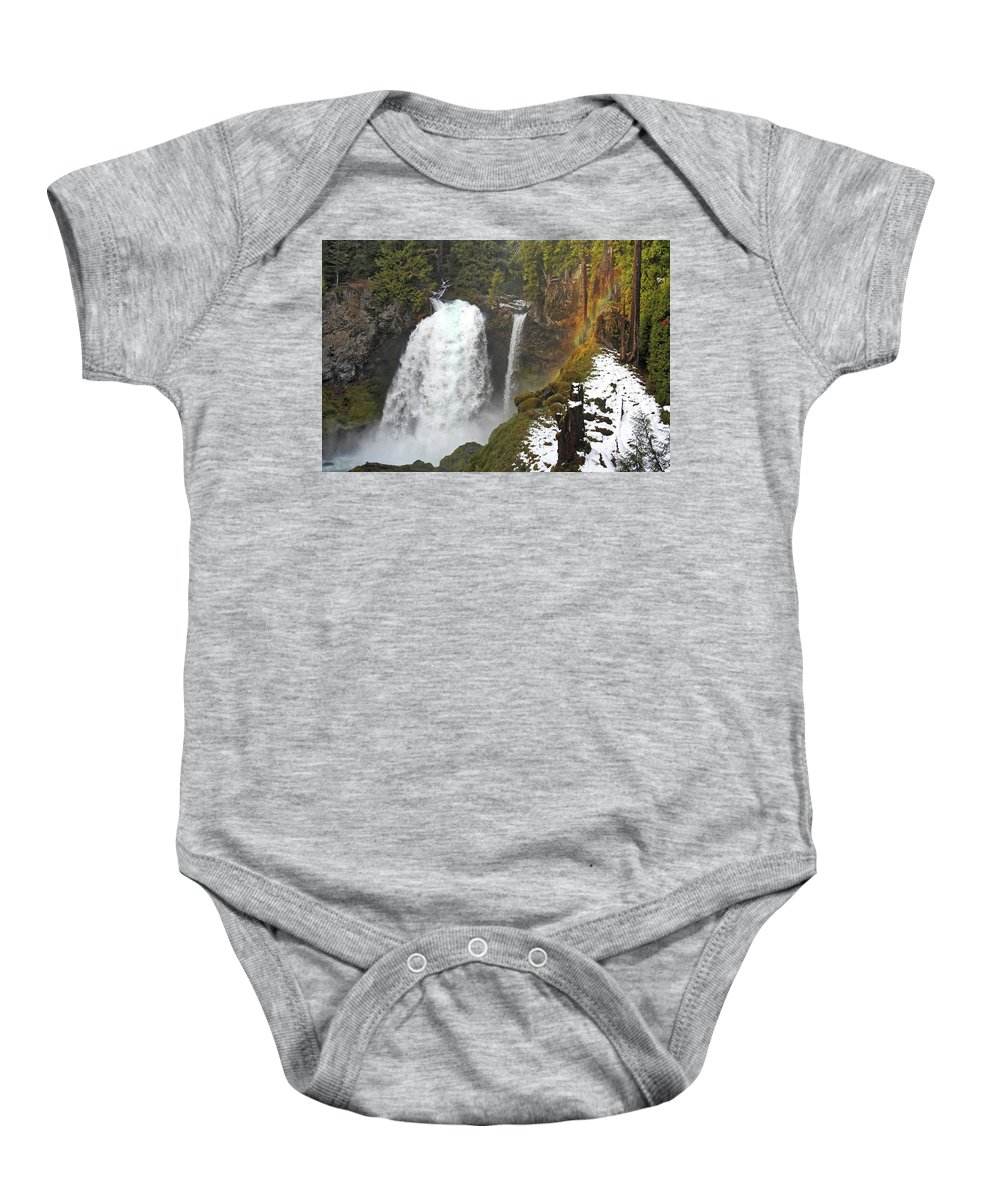 Falls Baby Onesie featuring the photograph Sahalie Falls, Oregon by Lindy Pollard