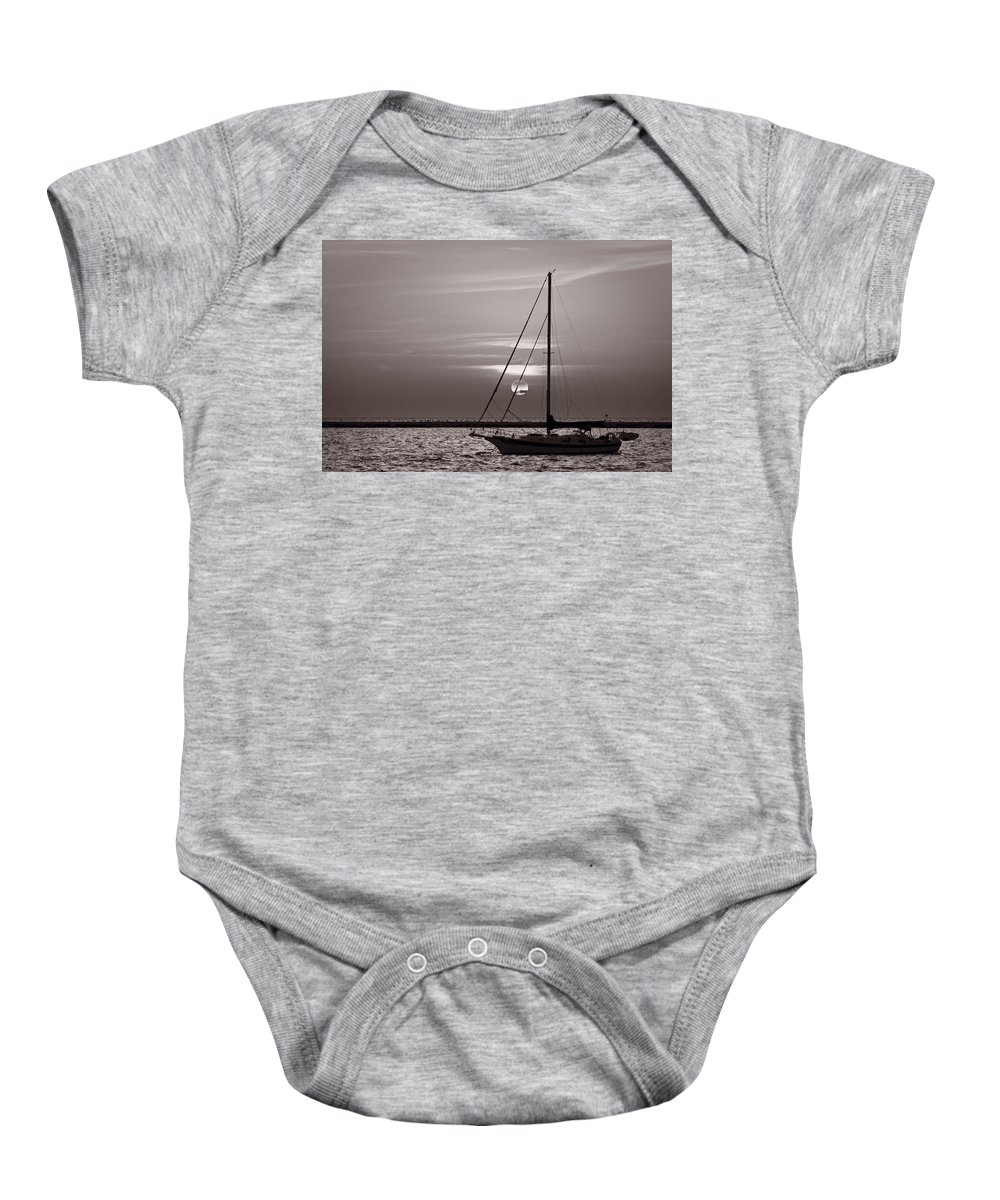 Boat Baby Onesie featuring the photograph Sailboat Sunrise In B And W by Steve Gadomski