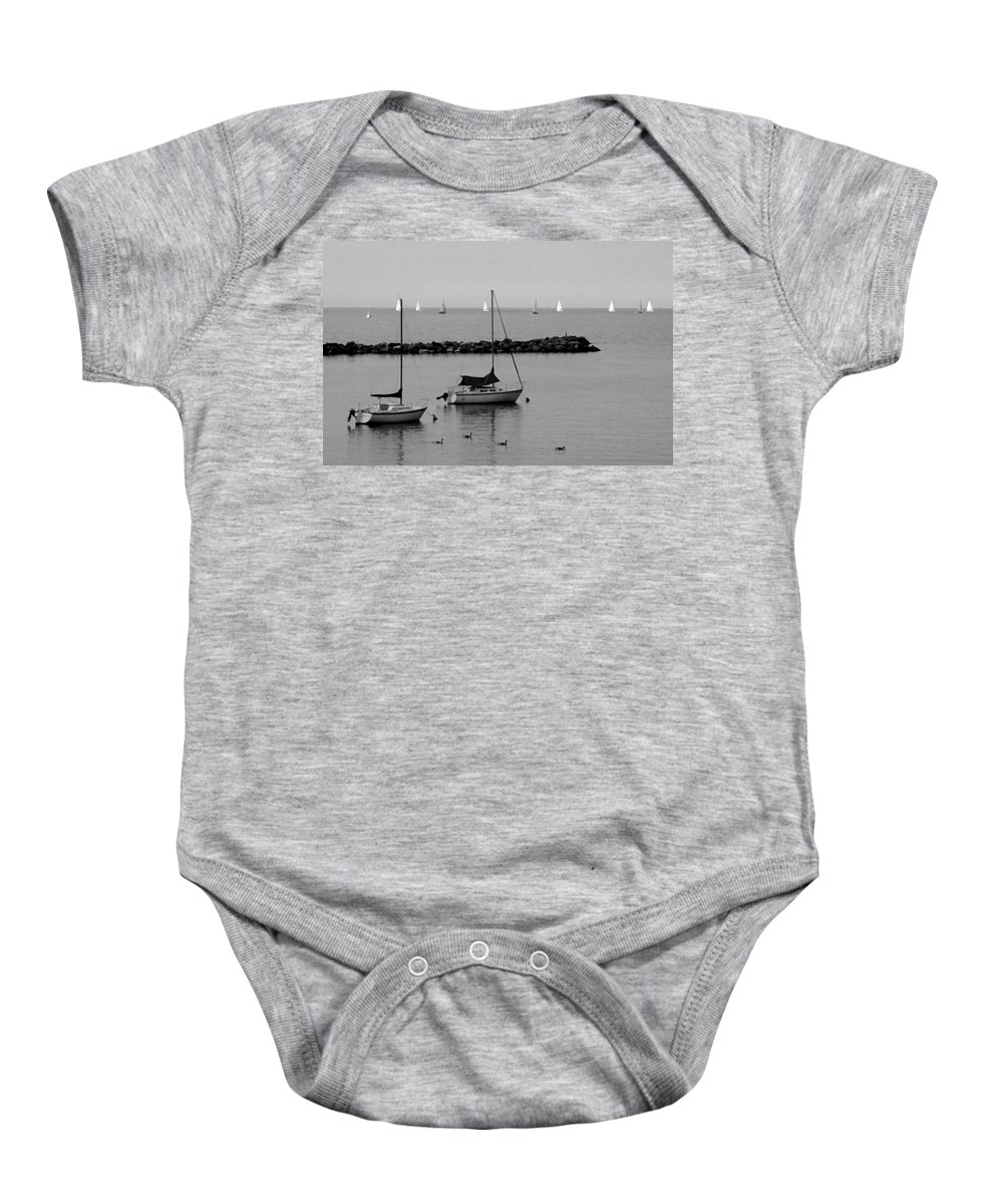 Sailboats Baby Onesie featuring the photograph Sailboats And Ducks B-w by Anita Burgermeister
