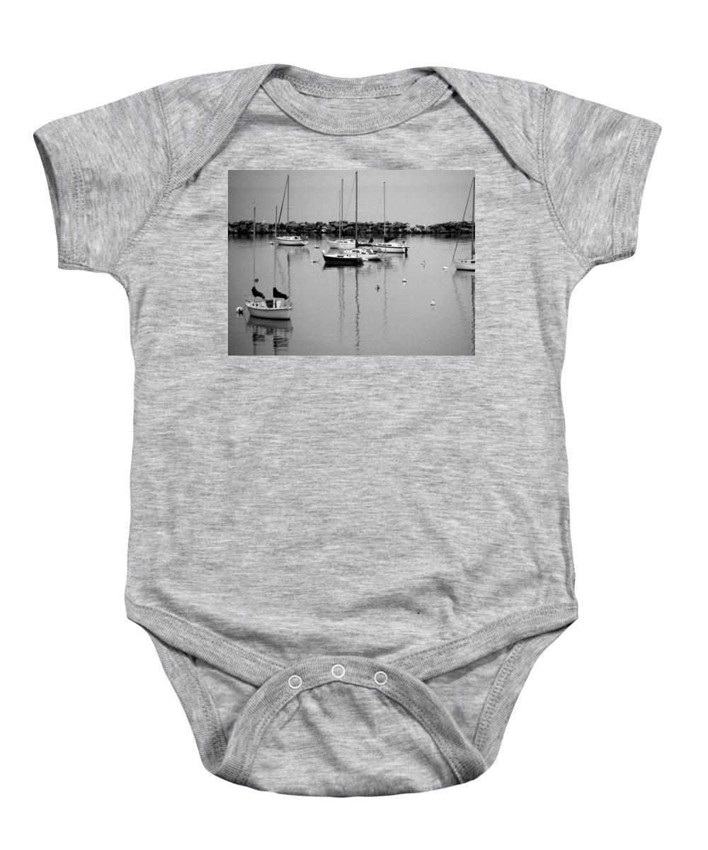 Sailboats Baby Onesie featuring the photograph Sailboats Resting B-w by Anita Burgermeister
