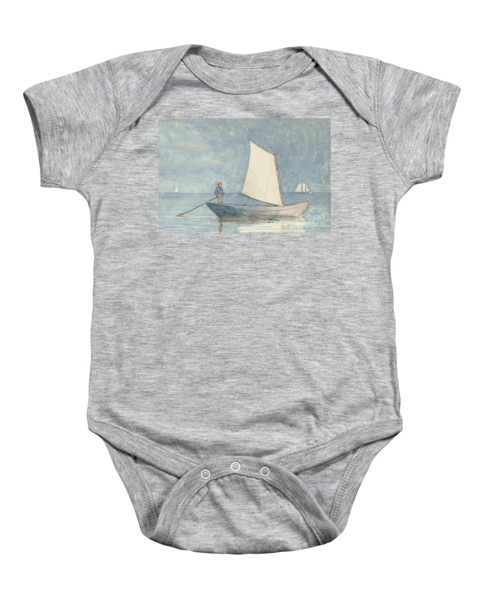 Boat Baby Onesie featuring the painting Sailing A Dory by Winslow Homer
