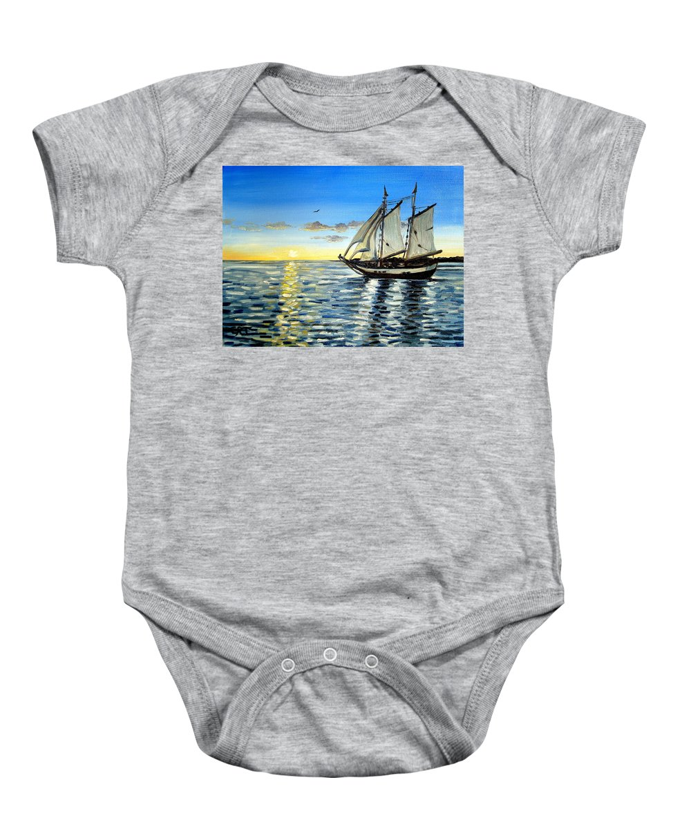 Seascape Baby Onesie featuring the painting Sailing Day Sunset by Elizabeth Robinette Tyndall