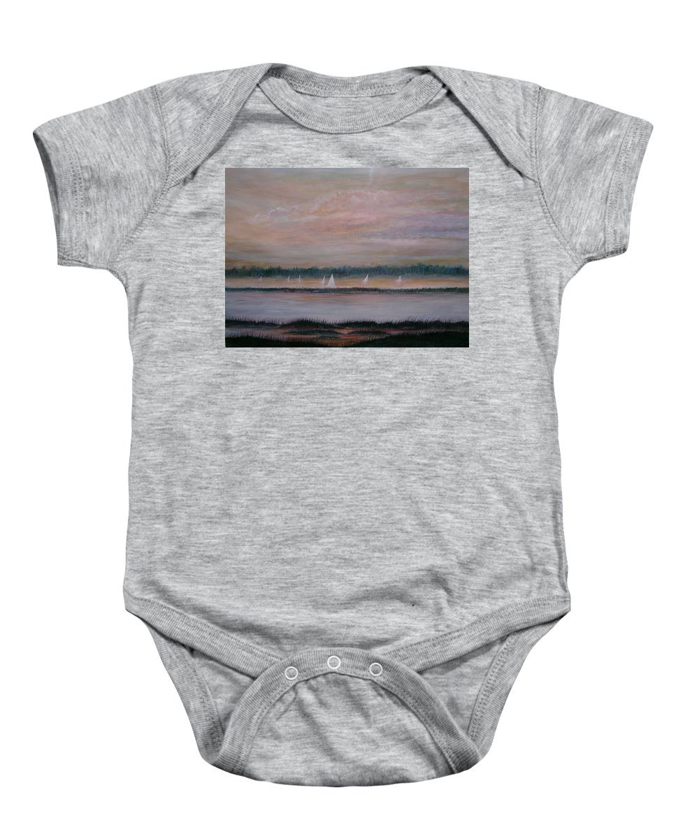 Sailboats; Marsh; Sunset Baby Onesie featuring the painting Sails In The Sunset by Ben Kiger