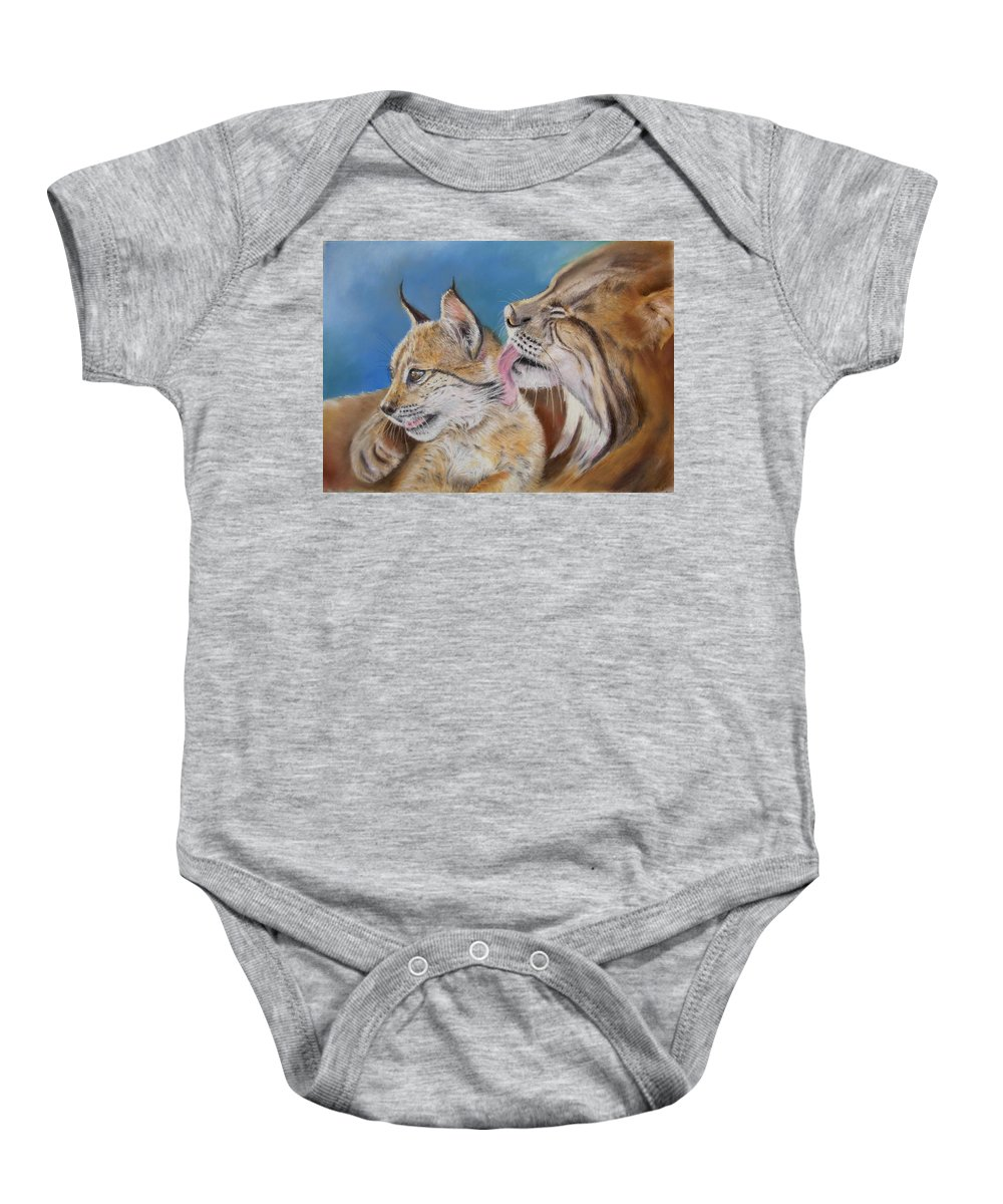 Iberian Lynx Baby Onesie featuring the painting Saliega Y Brezo by Ceci Watson