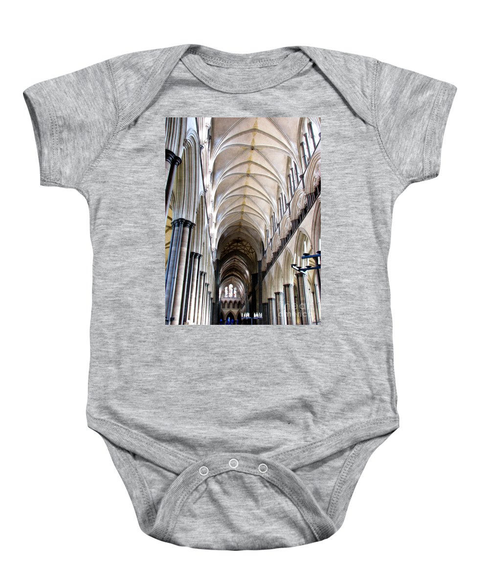 Salisbury Baby Onesie featuring the photograph Salisbury Cathedral by Amanda Barcon