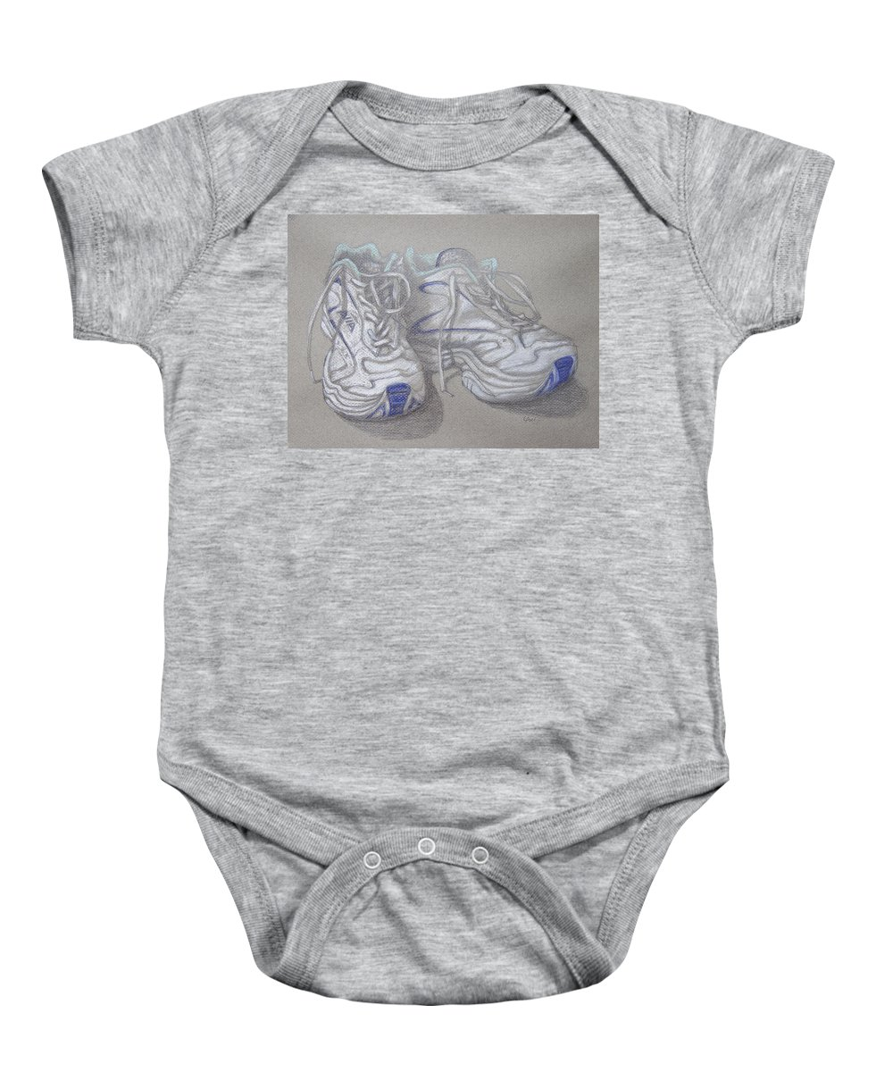 Sneakers Baby Onesie featuring the painting Sal's Sneakers by Laurie Paci