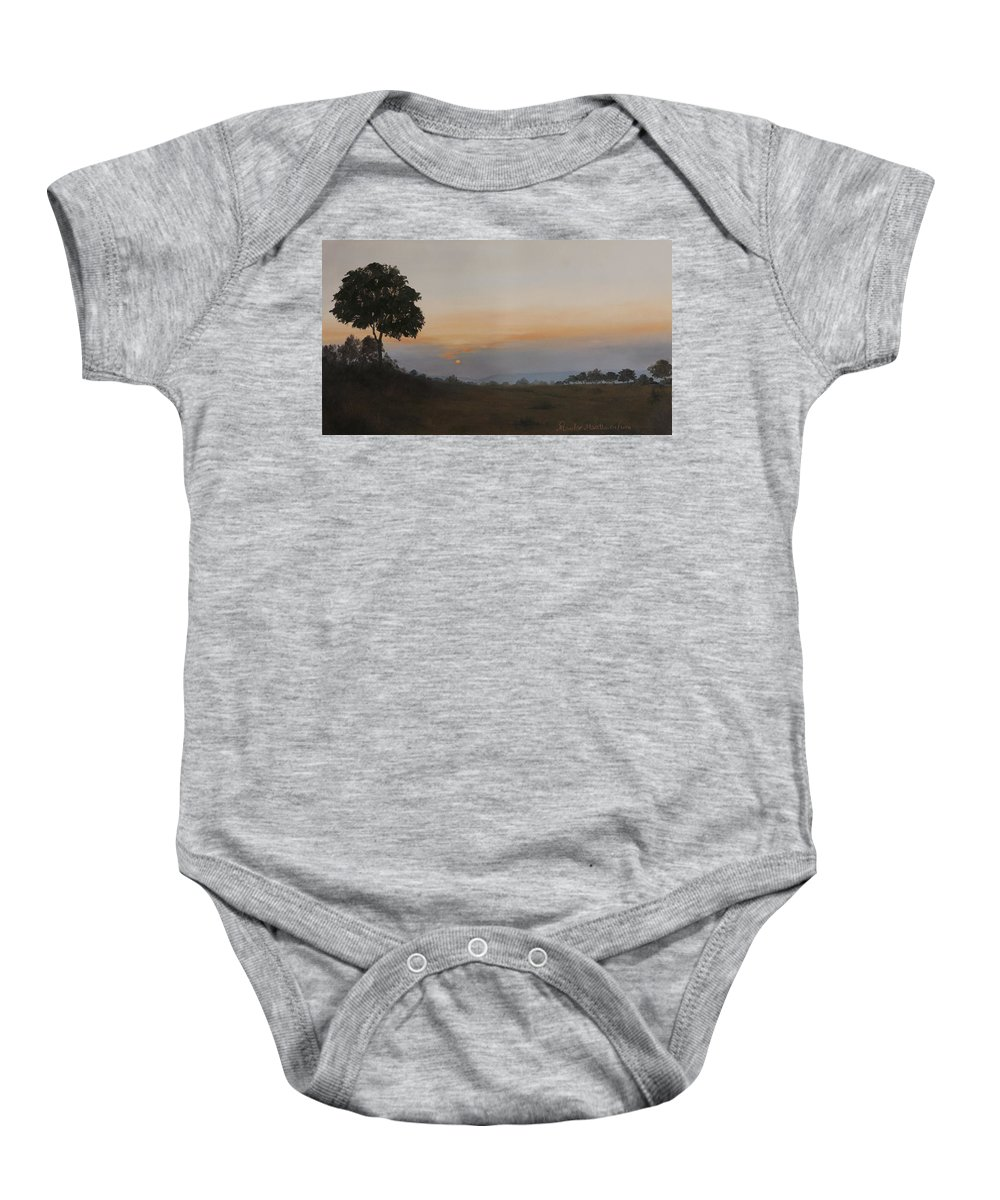 Dawn Baby Onesie featuring the painting Salutation To The Dawn by Mandar Marathe