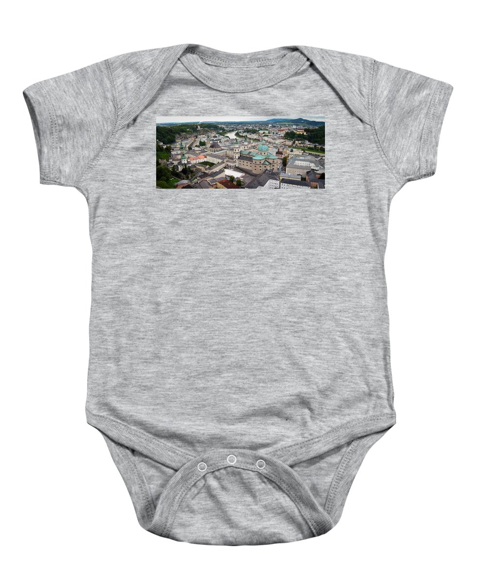 3scape Baby Onesie featuring the photograph Salzburg Panoramic by Adam Romanowicz