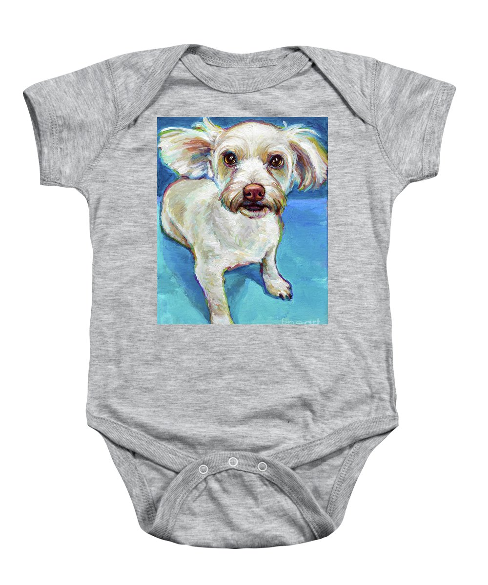 Maltese Baby Onesie featuring the painting Sam The Maltese Mix by Robert Phelps