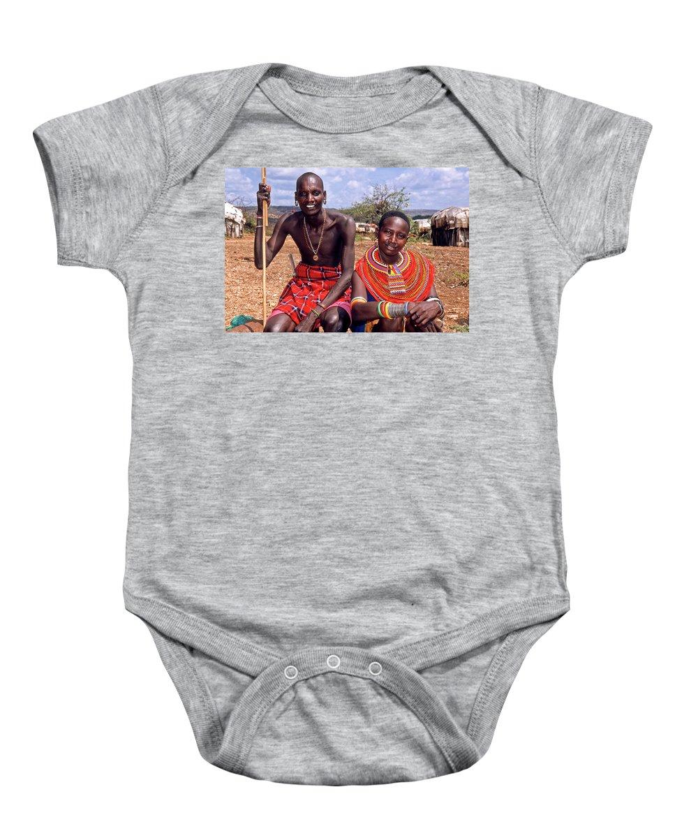 Africa Baby Onesie featuring the photograph Samburu Couple by Michele Burgess