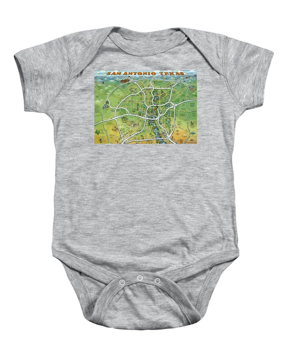 San Antonio Baby Onesie featuring the painting San Antonio Texas Cartoon Map by Kevin Middleton