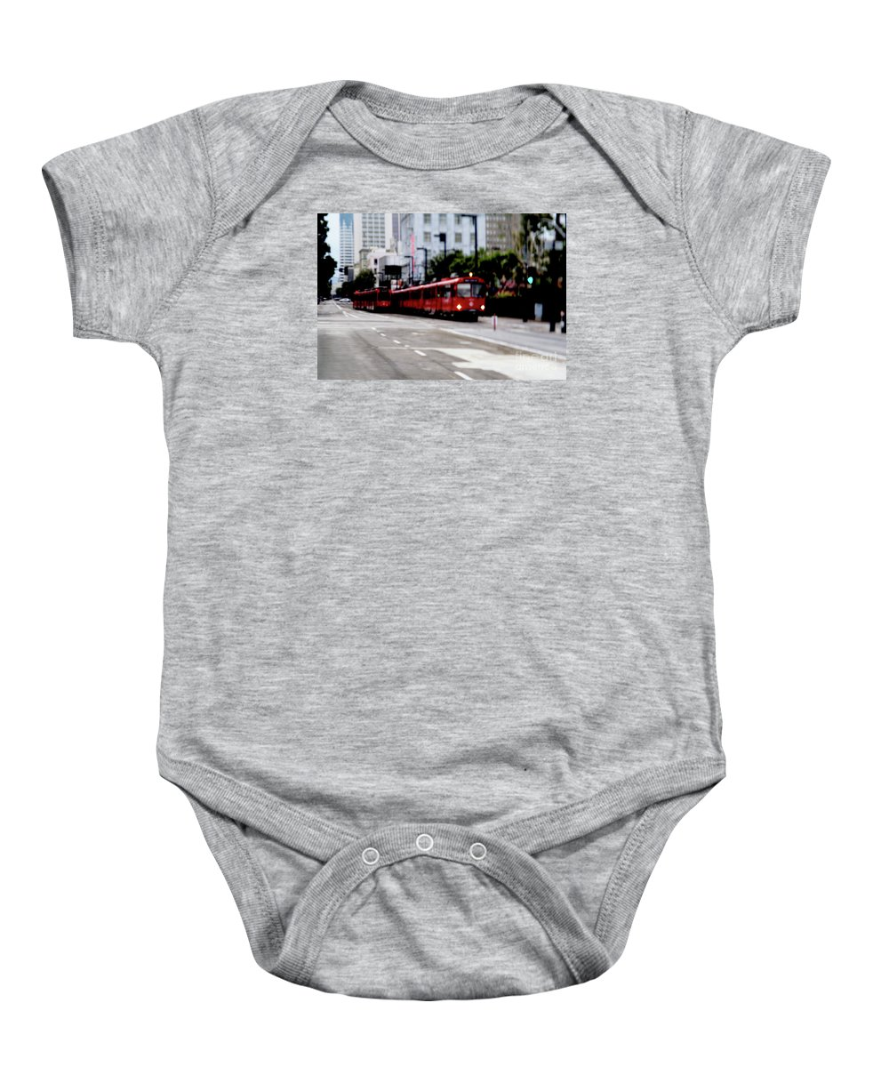 Red Trolley Baby Onesie featuring the photograph San Diego Red Trolley by Linda Shafer