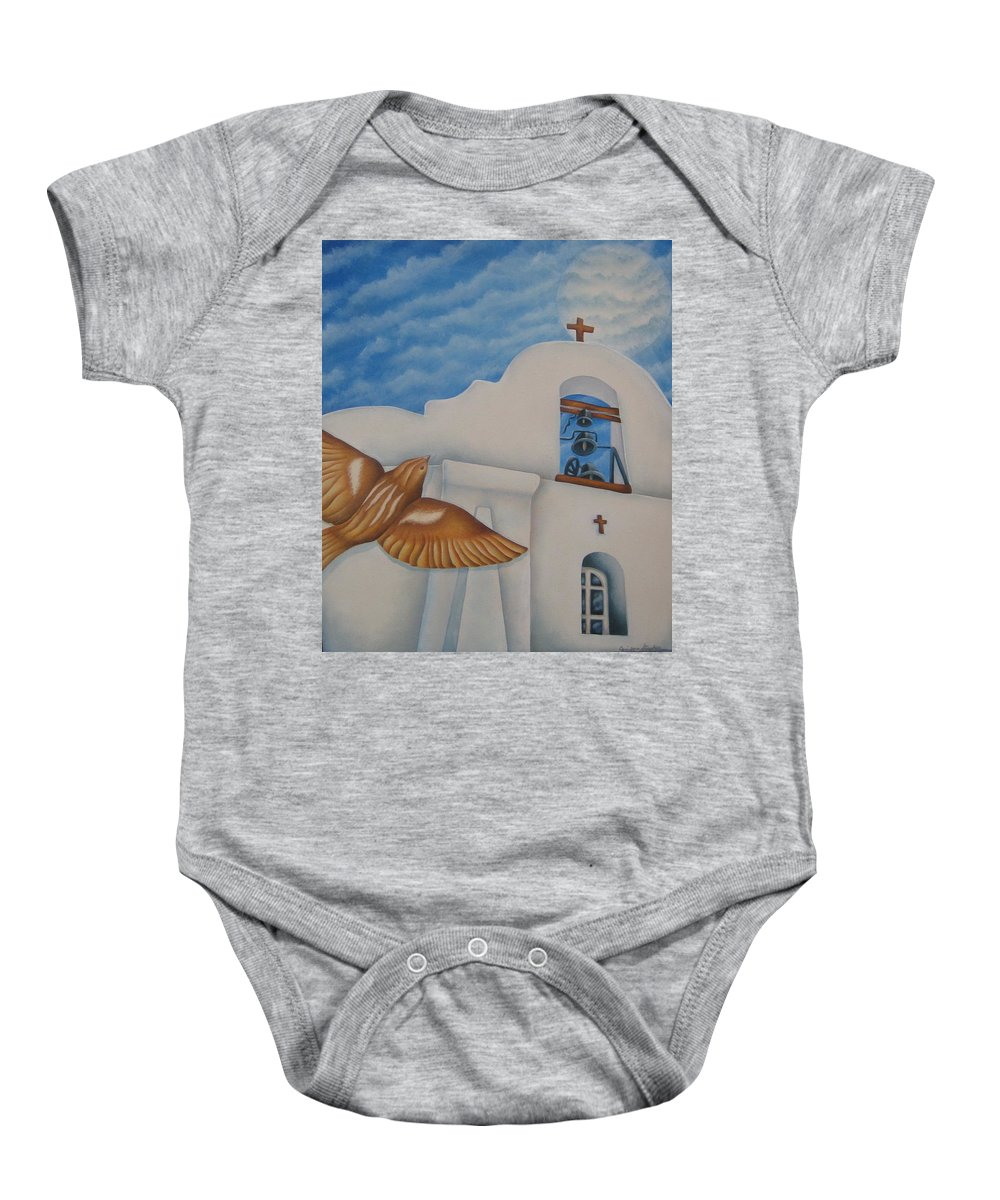 Sparrow Baby Onesie featuring the painting San Elizario On A Moonlit Morning by Jeniffer Stapher-Thomas