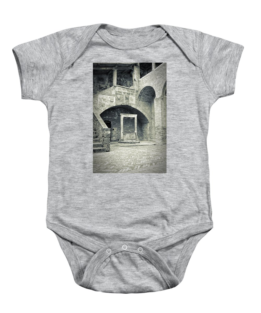 Ancient Baby Onesie featuring the photograph San Gimignano - Medieval Well by Silvia Ganora