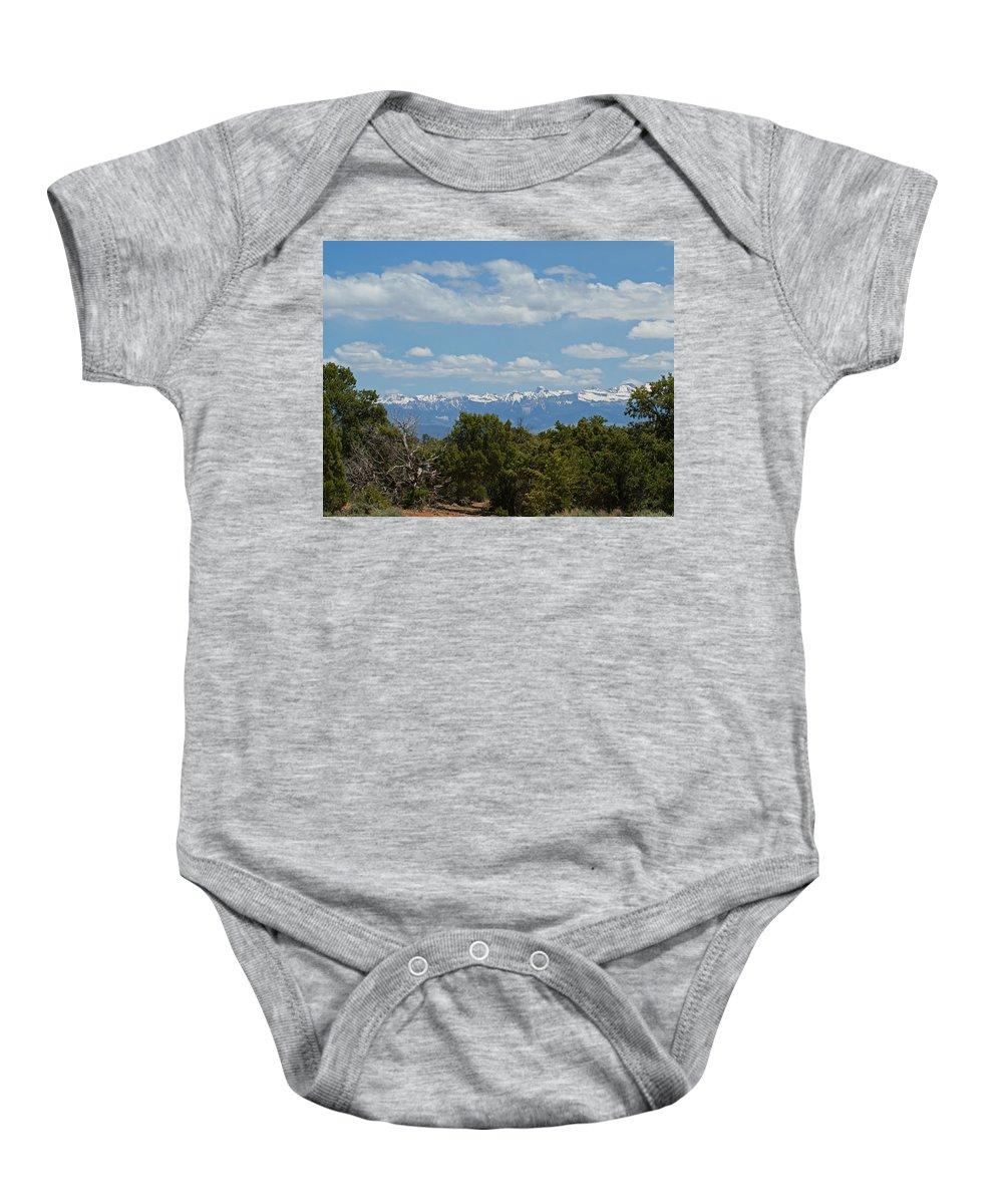 Art Baby Onesie featuring the photograph San Juan Mountains by Ernie Echols