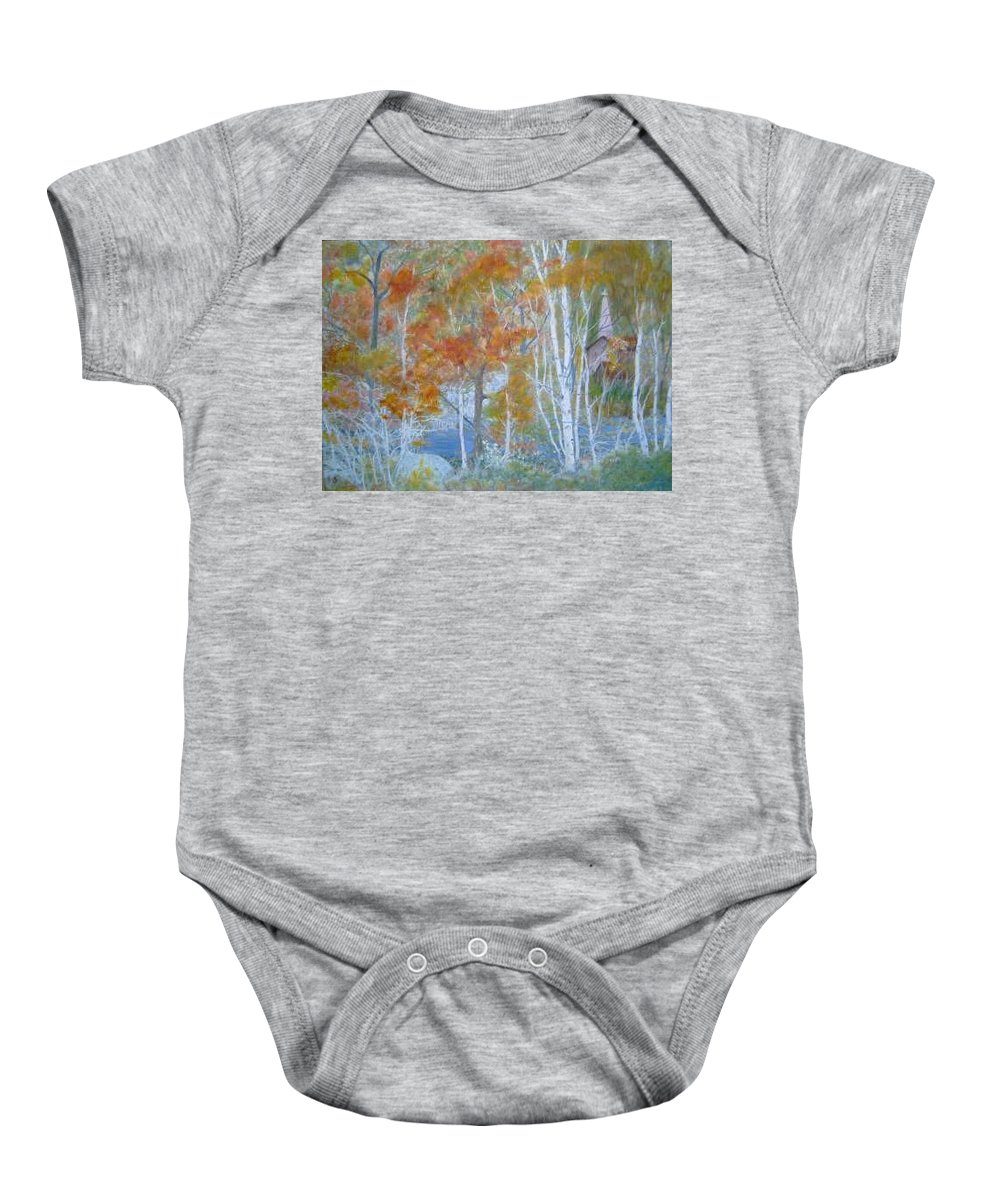 Church; Landscape; Birch Trees Baby Onesie featuring the painting Sanctuary by Ben Kiger