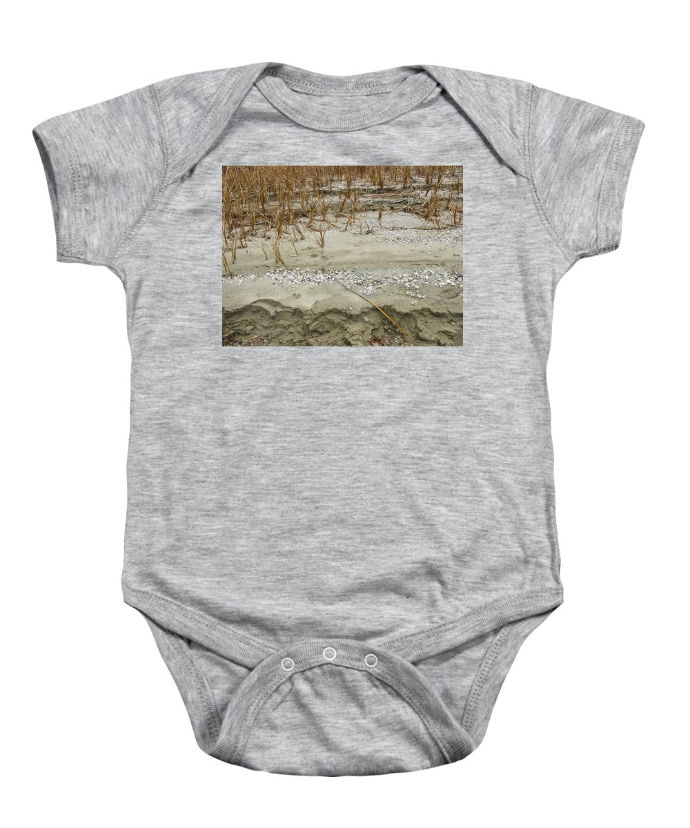 Abstracts Baby Onesie featuring the photograph Sand Stone And Reeds by Karen W Meyer