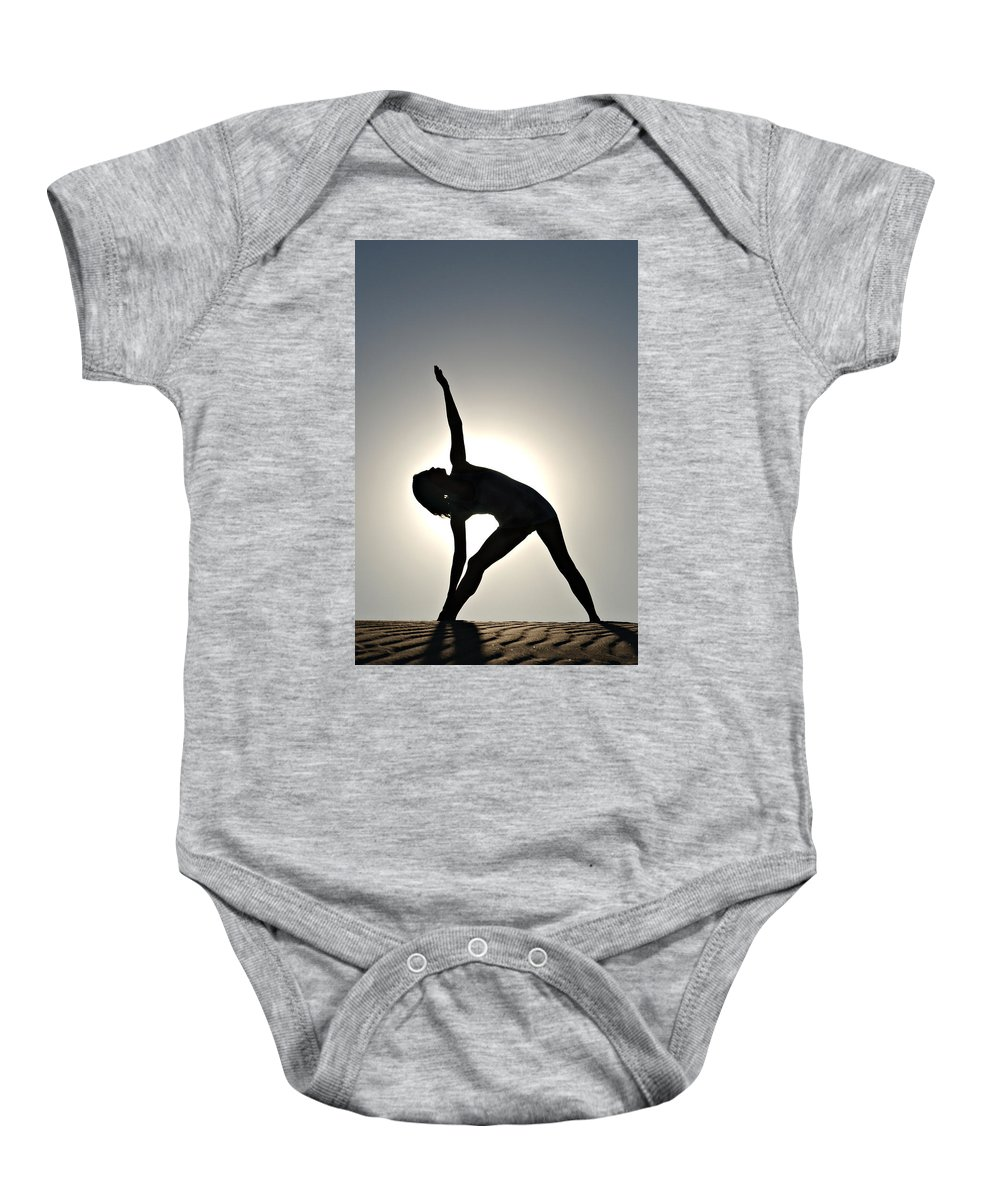 Yoga Baby Onesie featuring the photograph Sand Yoga by Scott Sawyer