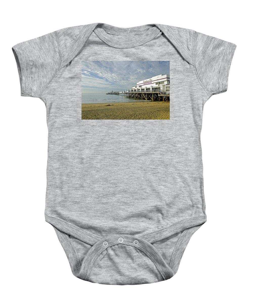 Sandown Baby Onesie featuring the photograph Sandown Pier by Rod Johnson