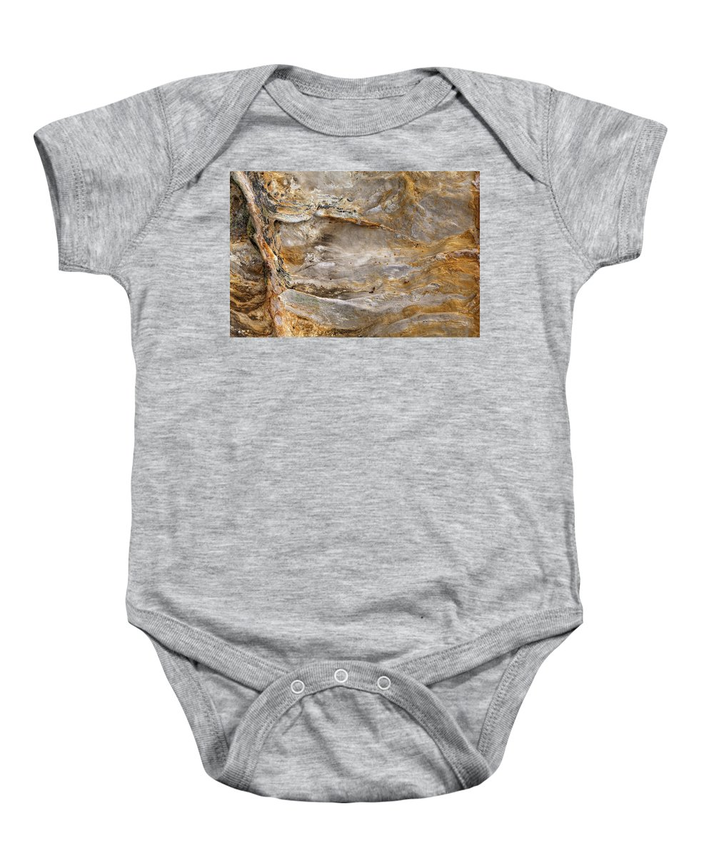 Starved Baby Onesie featuring the photograph Sandstone Formation Number 2 At Starved Rock State by Steve Gadomski