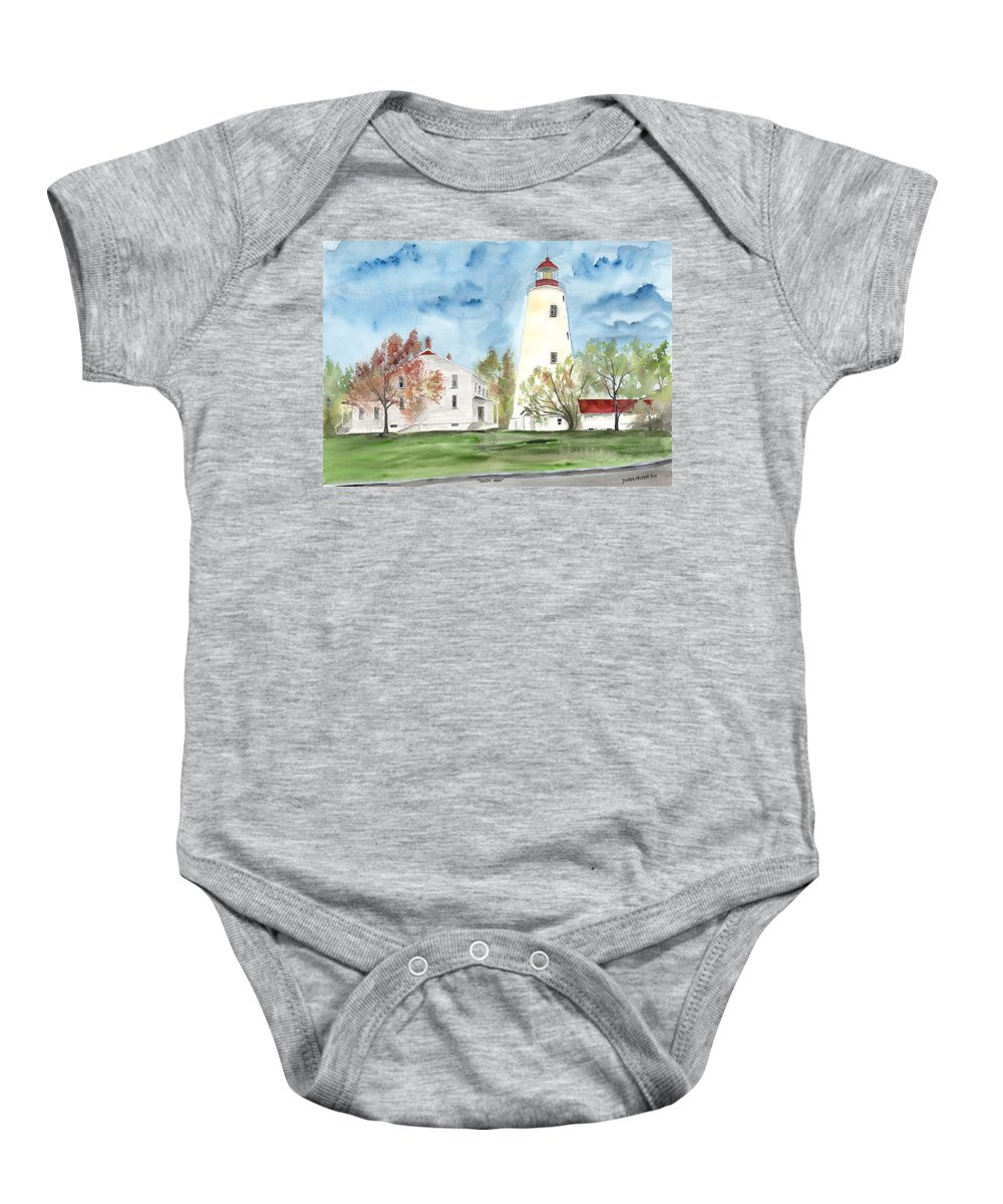 Watercolor Baby Onesie featuring the painting Sandy Hook Lighthouse by Derek Mccrea