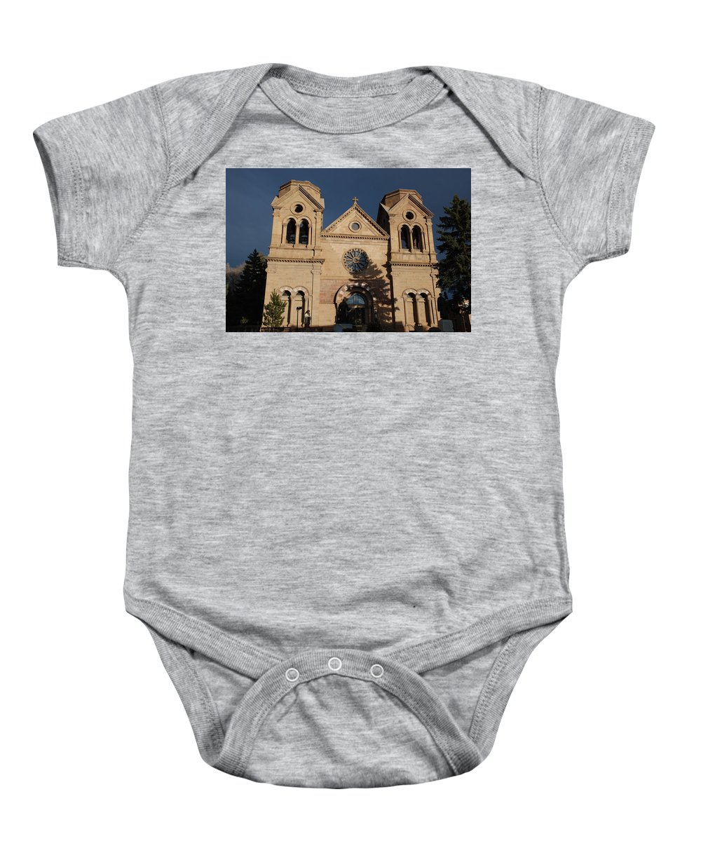 Architecture Baby Onesie featuring the photograph Santa Fe Church by Rob Hans