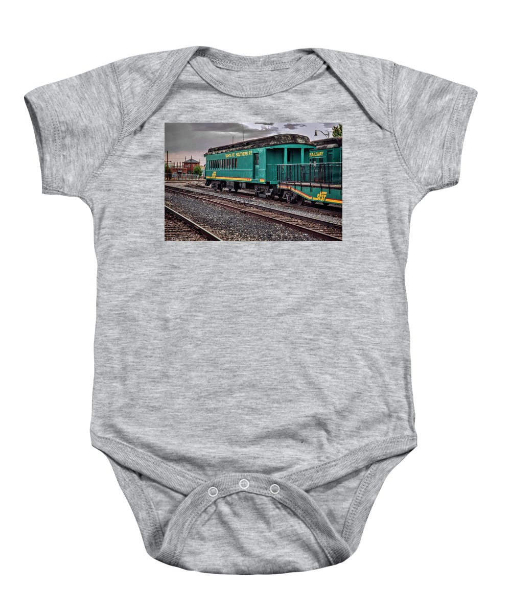 Baby Onesie featuring the photograph Santa Fe Rail Yard by Diana Powell